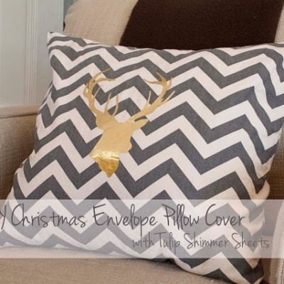 Christmas Reindeer Silhouette Chevron Pillow Cover Tutorial with Tulip Shimmer Sheets