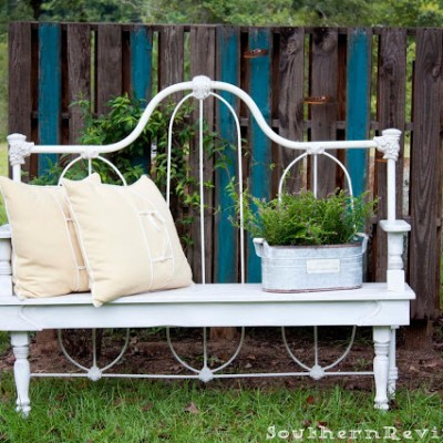 DIY Repurposed Metal Headboard Bench