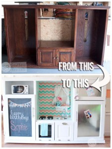 Vintage Entertainment Center Turned Spectacular Play Kitchen