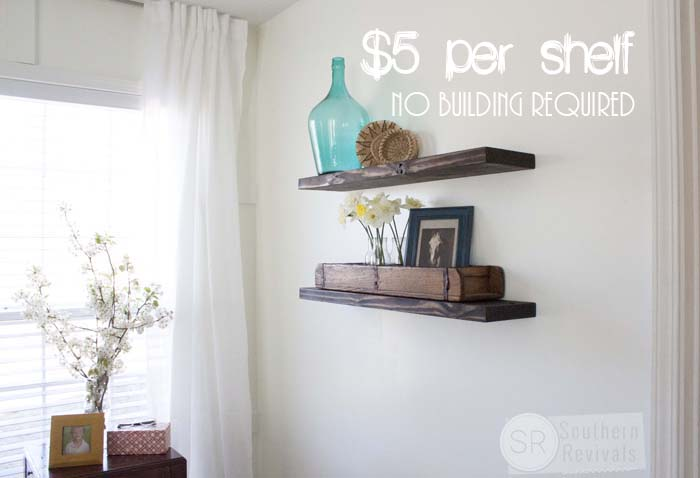 Quick easy budget friendly diy floating shelves for How to make wall shelves easy