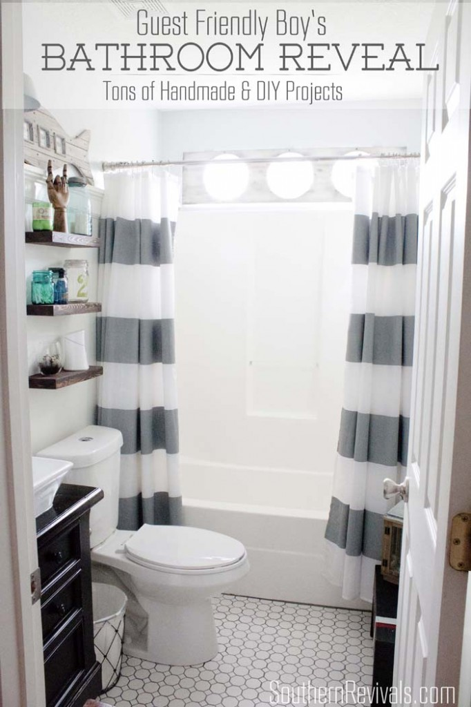 Quick easy cheap diy floating shelves southern for Boys bathroom designs