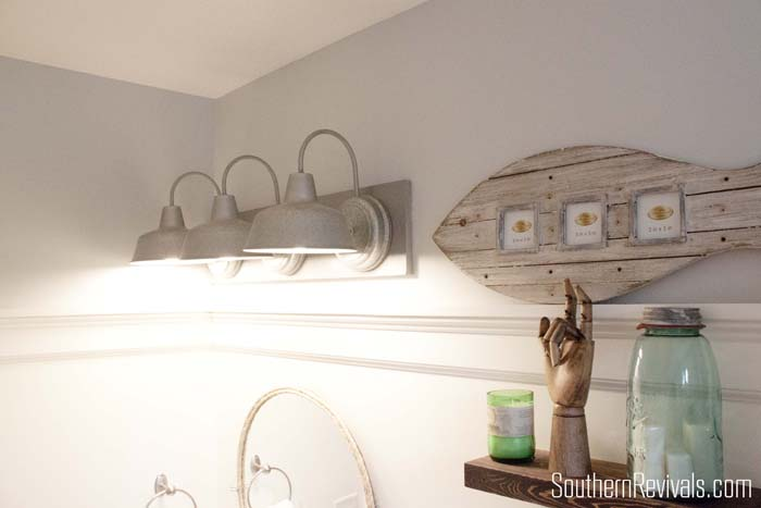 Nautical Bathroom Light Fixture: Nautical Guest Friendly Boys Bathroom Makeover Reveal