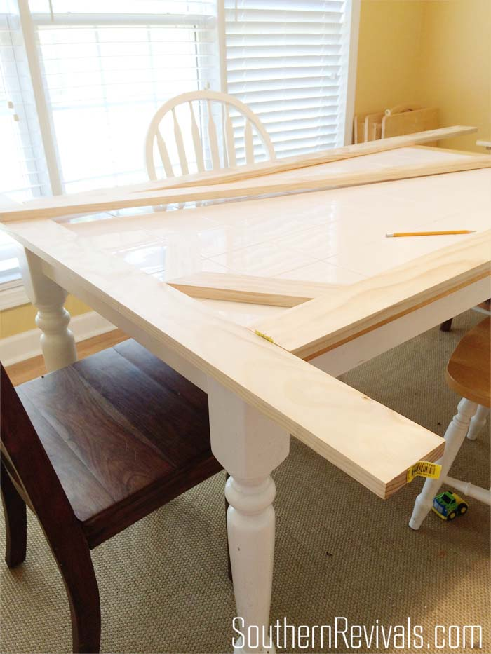 Tile Top Table Makeover Updating A Tile Top Table With Wood Part 1 Southern Revivals