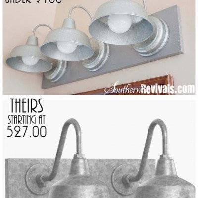 DIY Triple Galvanized Gooseneck Vanity Light Fixture for under $100