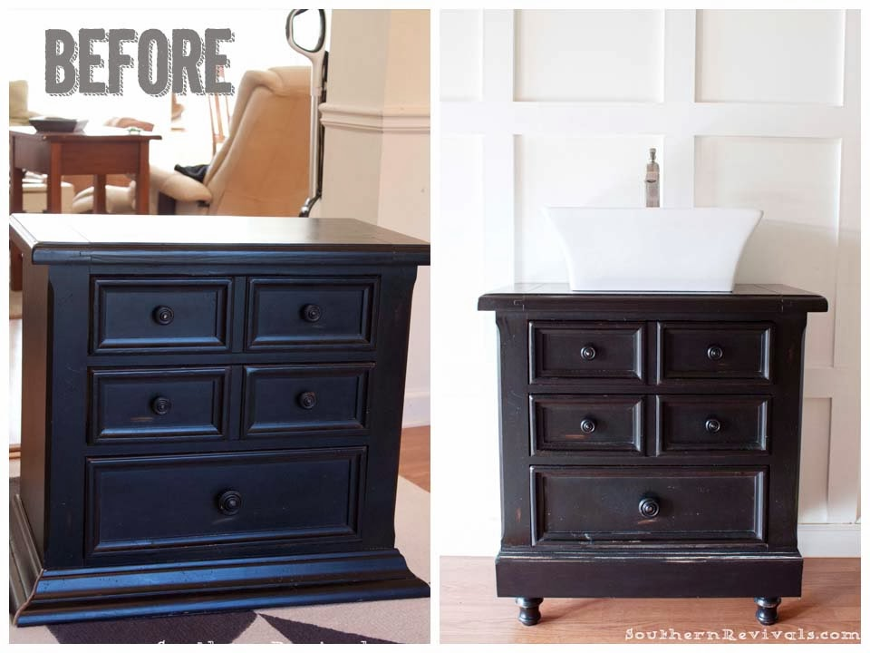Turning Our Nightstand into Our Bathroom Vanity ...