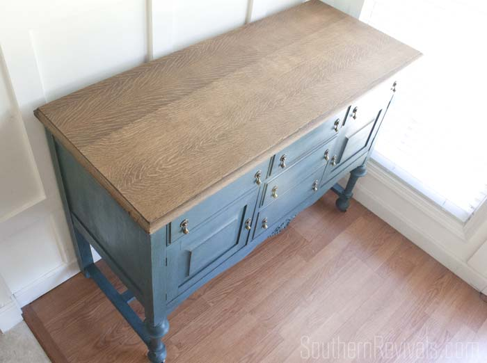 Antique Sideboard Buffet Makeover | The Client Files #paintedfurniture #milkpaint SouthernRevivals.com