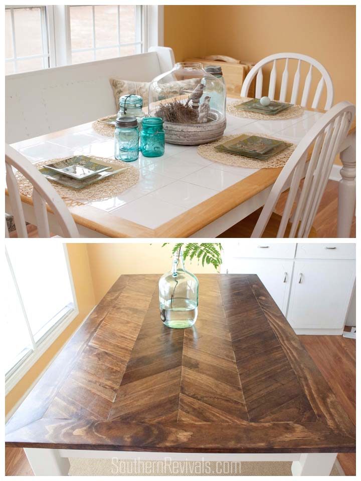 From Tile Top To Herringbone Table Makeover Pt 2