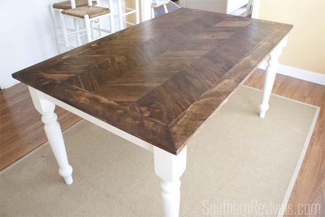 Merveilleux Tile Top Makeover | DIY Wood Herringbone Table #tablemakeover  #furnituremakeover #diy SouthernRevivals.