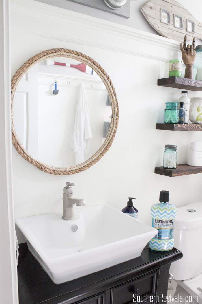 Small Bathroom Decorating Ideas with Cheveron Listerine Botttles #BathroomDecor #Chevron SouthernRevivals.com