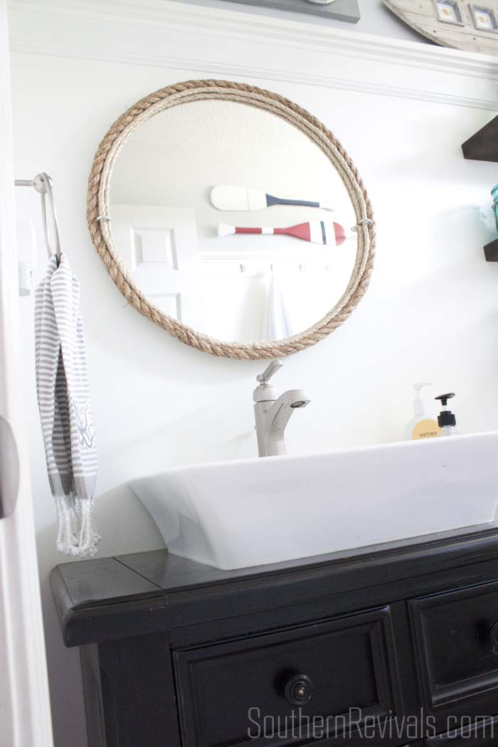 ac04c3d252 DIY Rope Bathroom Mirror Tutorial  nautical  bathroom SouthernRevivals.com