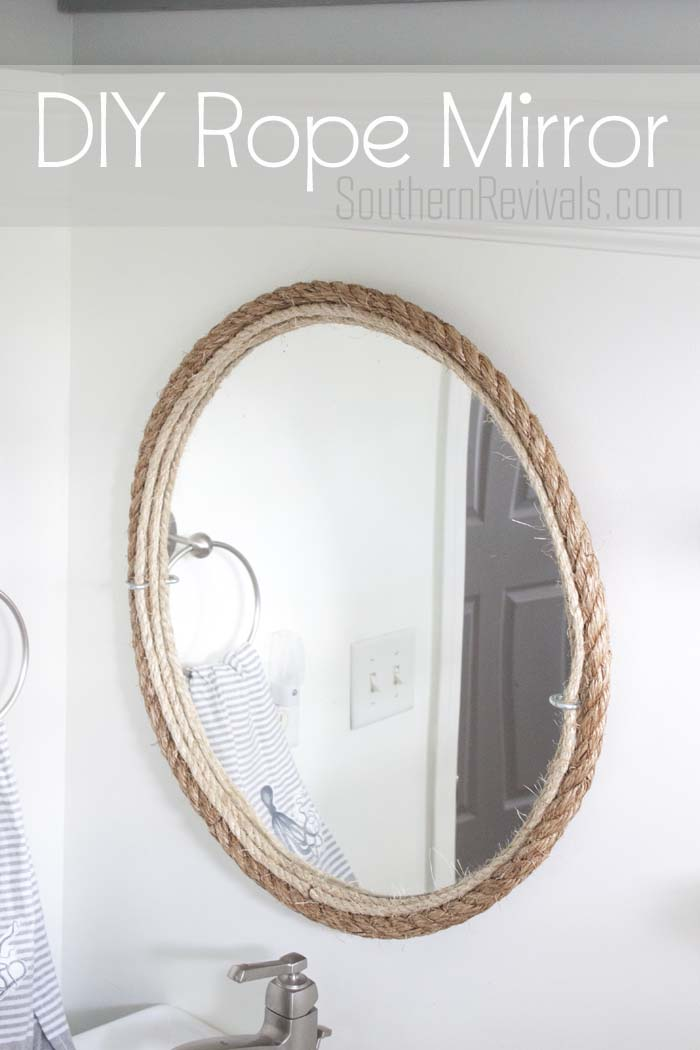 Diy rope mirror tutorial nautical style bathroom mirror for Mirror over mirror