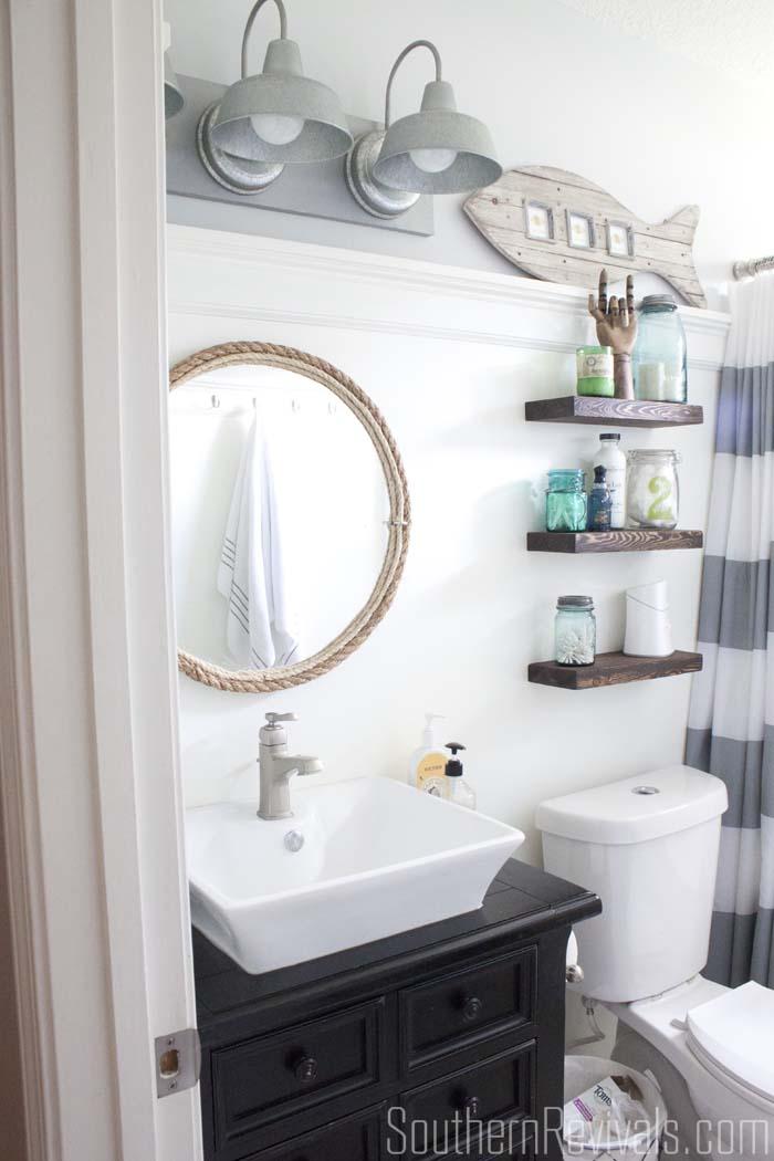 Original Gorgeous Chunky Whitewashed Nautical Mirror That 39glows39 In The Dark