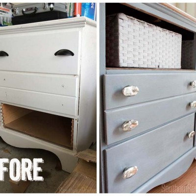Furniture Redos Dresser Makeover #paintedfurniture #milkpaint #driedlavendar SouthernRevivals.com