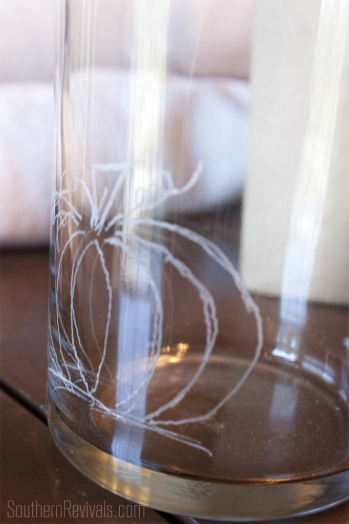 How to Etch Glass with the Dremel Micro #etchedglass #fall #dremelproject SouthernRevivals.com