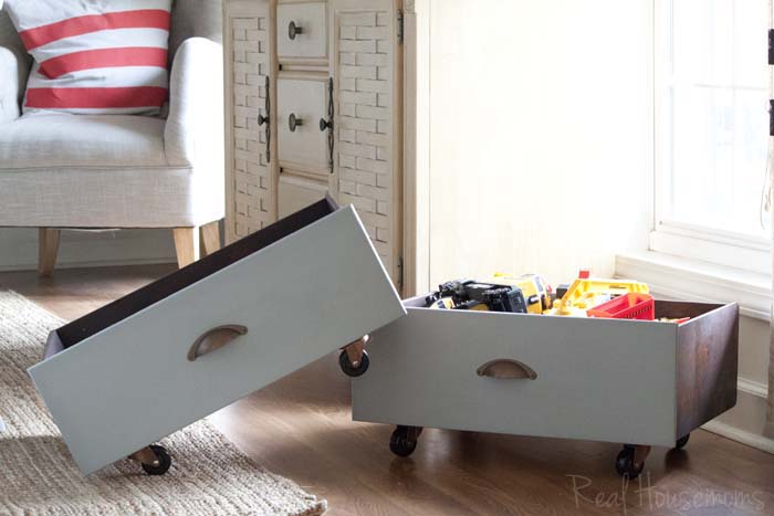 Old Drawers Repurposed into Rolling Toy Storage Bins #repurposed #toystorage #organization SouthernRevivals.com
