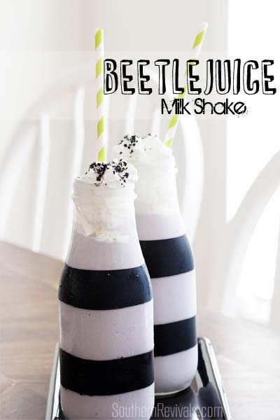 Repurposed Frappuccino Bottles Halloween Beetlejuice Milk Shake Recipe