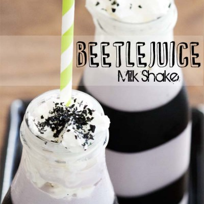Beetlejuice Milk Shake + Repurposed Frappuccino Bottles