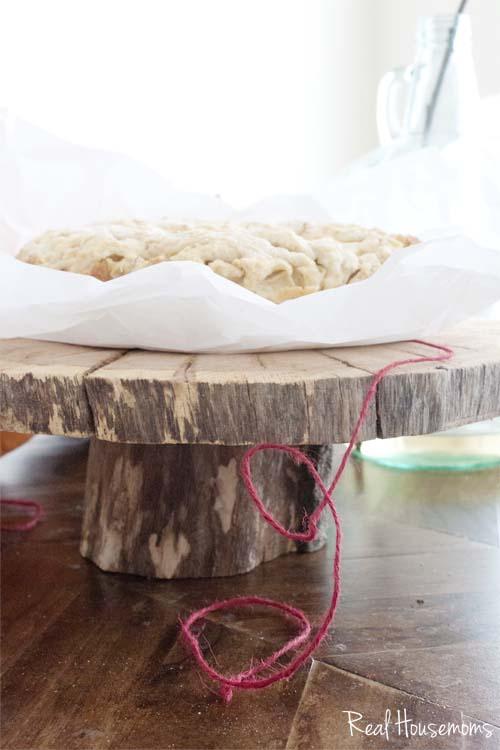 DIY Wood Slick Cake Pedestal Stand