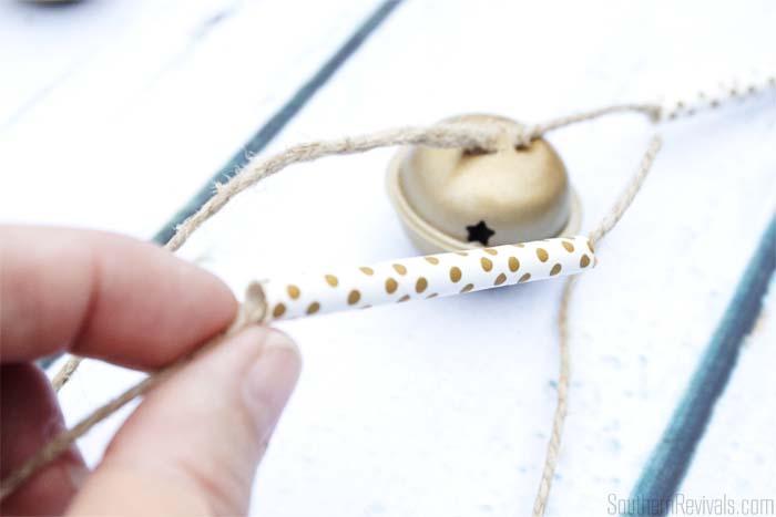 DIY Bell + Paper Straw Garland