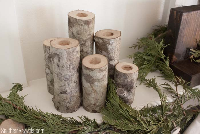 diy birch log candlestick holders - Christmas Log Candle Holder Decorations