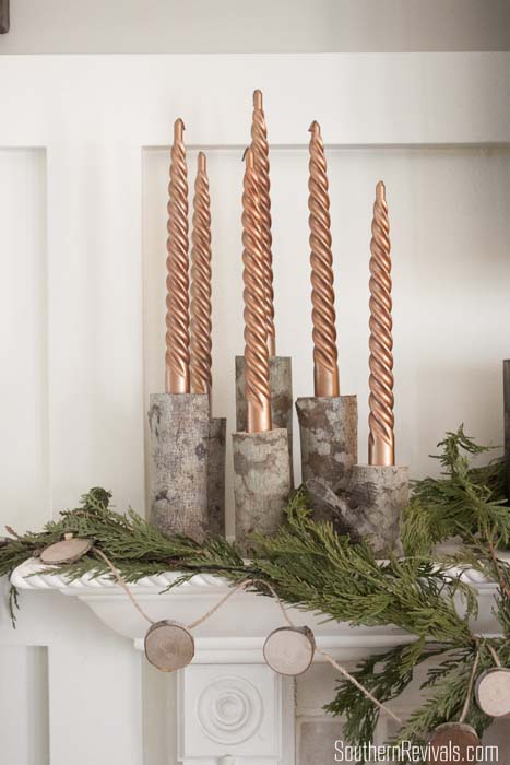 DIY Birch Log Candlestick Holders
