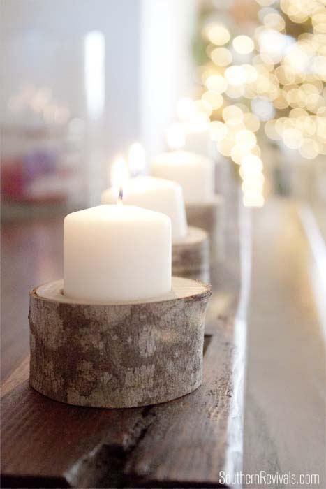 DIY Wood Slice Votive Holder Centerpiece