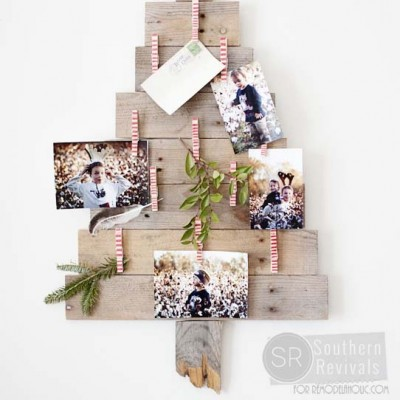 DIY Pallet Wood Christmas Tree Photo & Card Holder