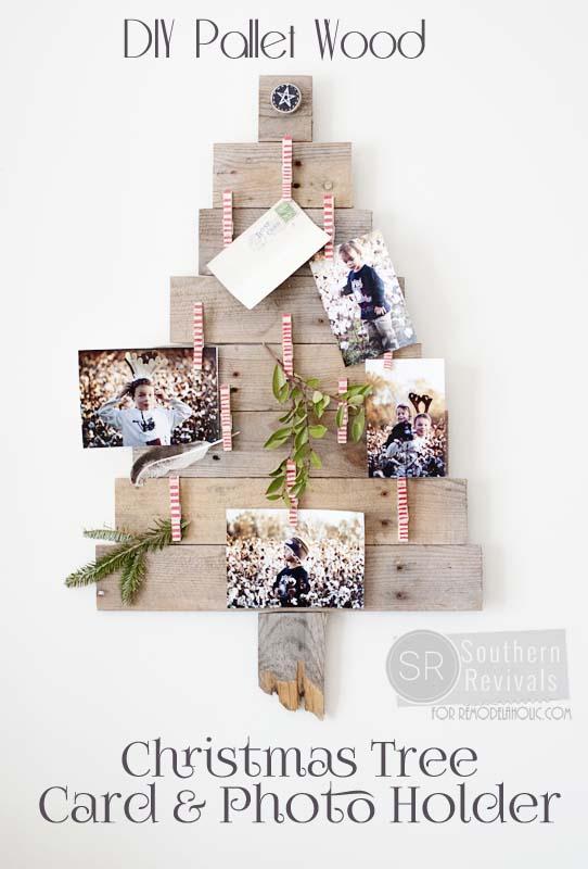 DIY Pallet Wood Christmas Tree Photo & Card Holder - Southern Revivals