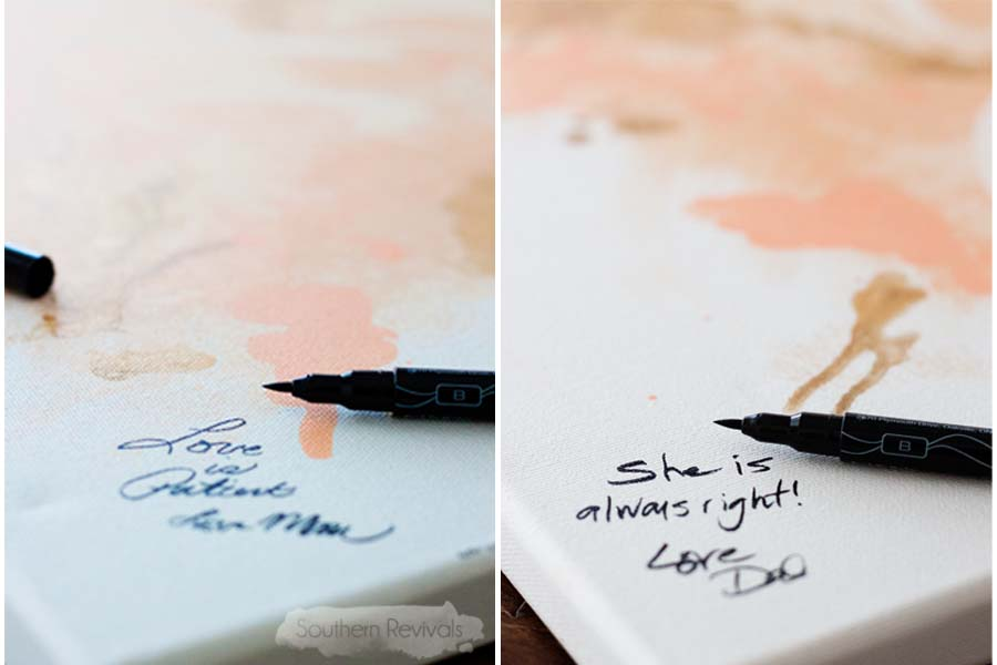 DIY Watercolor Wedding Guest Book Canvas