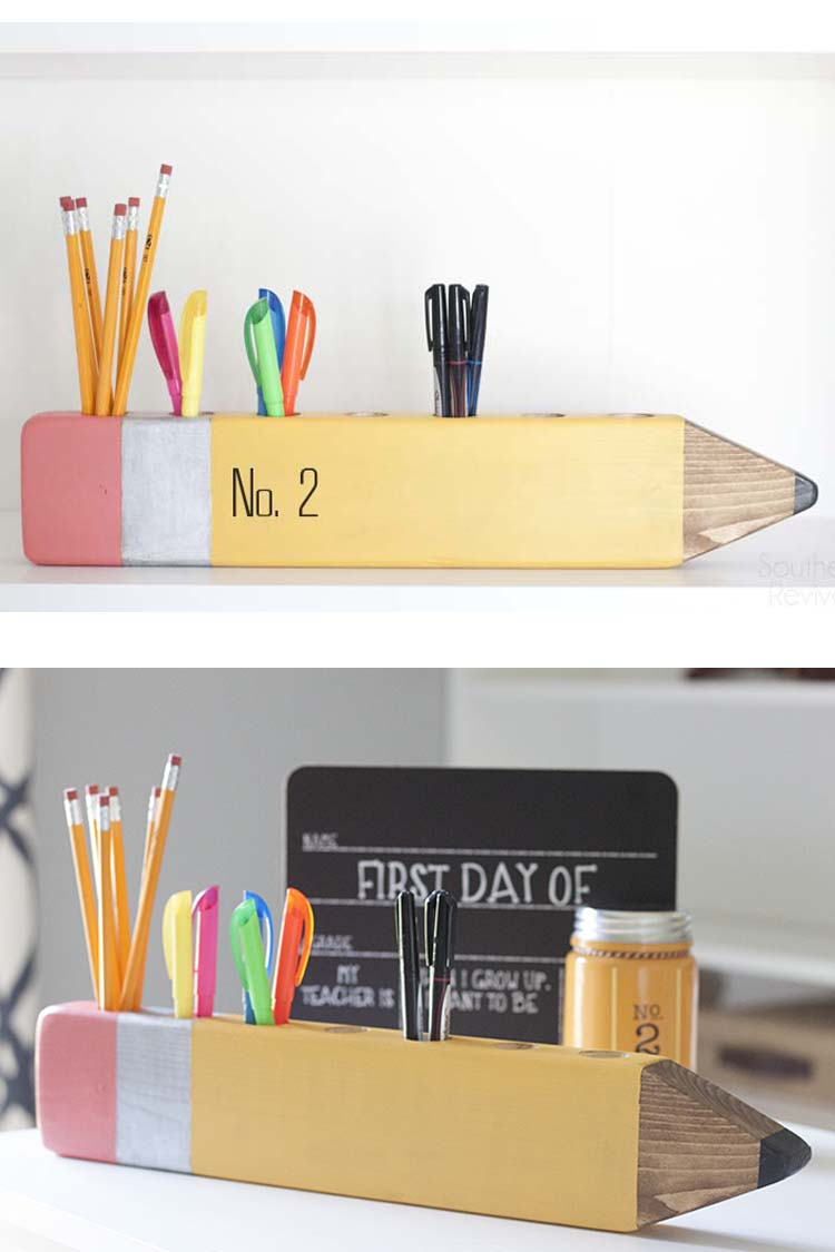 DIY No 2 Pencil Desk Organizer