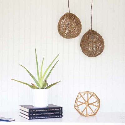 DIY Twine Pendant Light with Faultless Starch