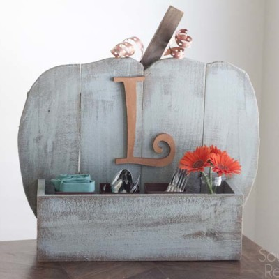 Rustic Pumpkin Stand Utensil Holder
