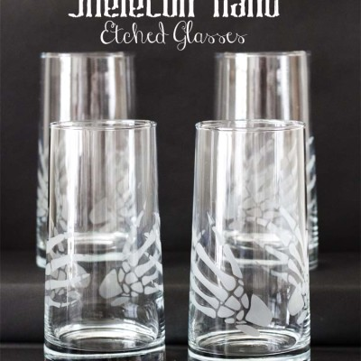 DIY Skeleton Hands Etched Glasses