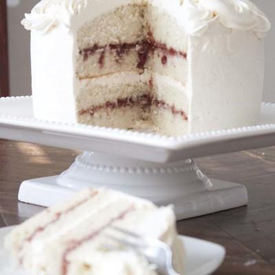 White Chocolate Raspberry Vanilla Cake {Gluten Free}