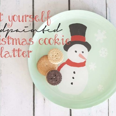DIY Handpainted Snowman Christmas Cookie Platter
