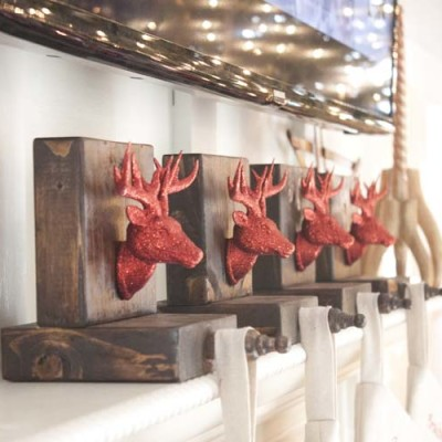 DIY Wooden Reindeer Stocking Holders