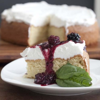 Gluten Free Almond Cake with Blackberry Basil Compote