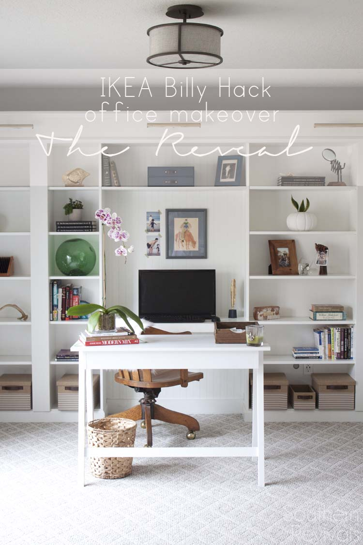 Awesome Office Makeover Reveal | IKEA Hack Built In Billy Bookcases