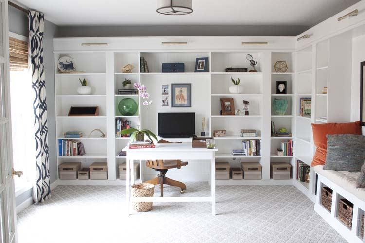 Office Makeover Reveal | IKEA Hack Built-in Billy Bookcases ...
