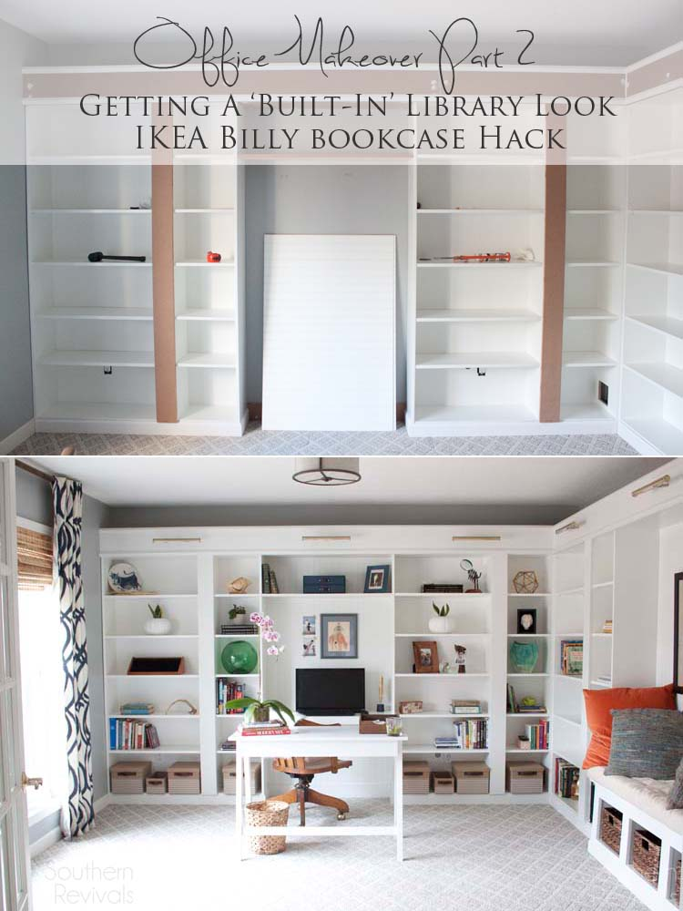 Office Makeover Part 2 Ikea Billy Hack Built In Bookcases