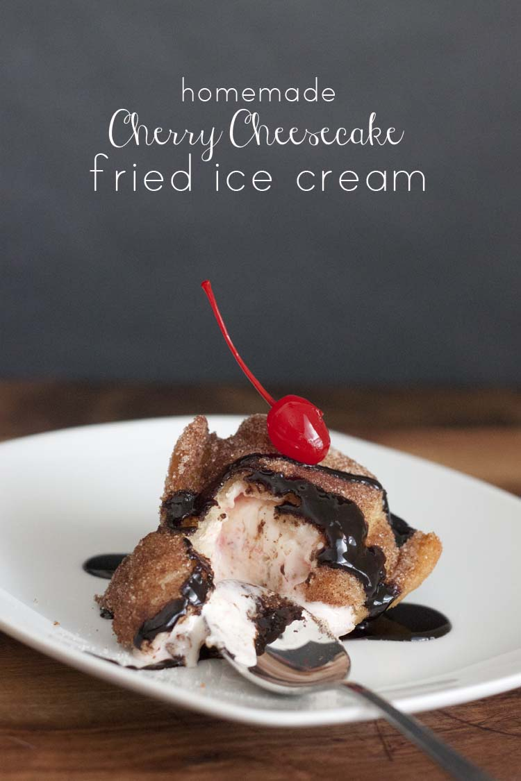 Homemade Cherry Cheesecake Fried Ice Cream
