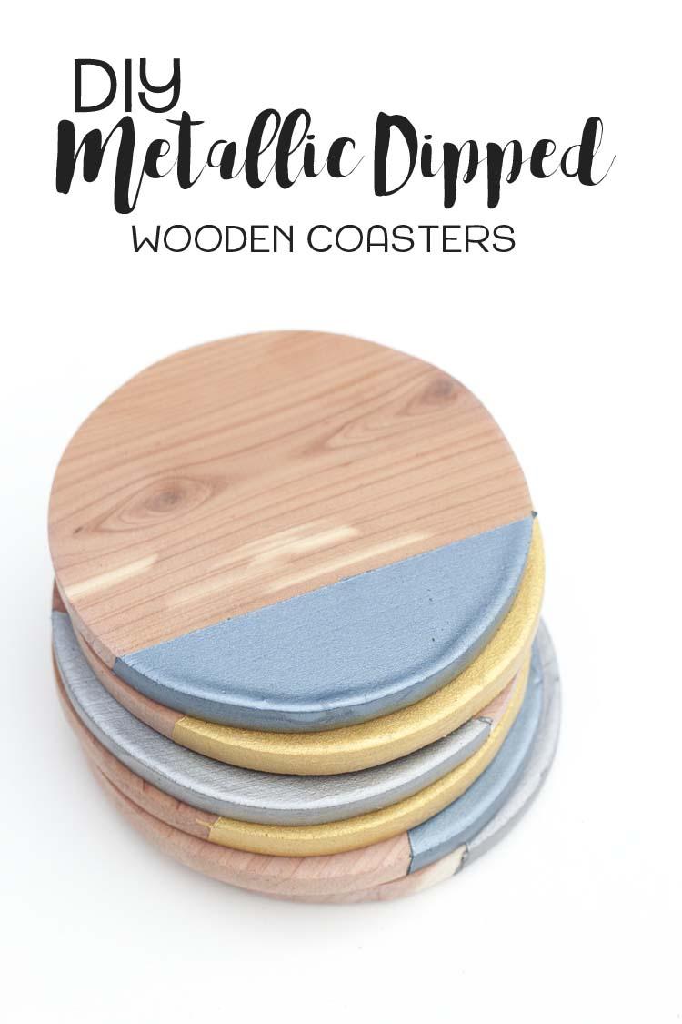 DIY-Metallic-Dipped-Wooden-Coasters