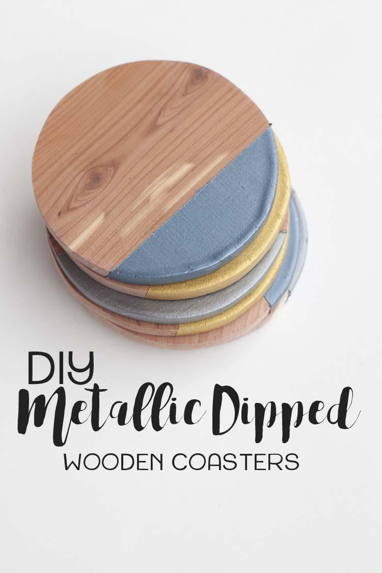 DIY Metallic Dipped Wooden Coasters