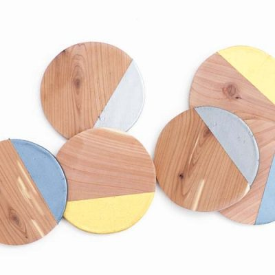DIY Metallic Dipped Wooden Coasters