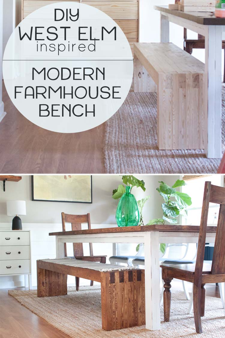 Picture of: Diy Modern Farmhouse Bench West Elm Inspired Southern Revivals