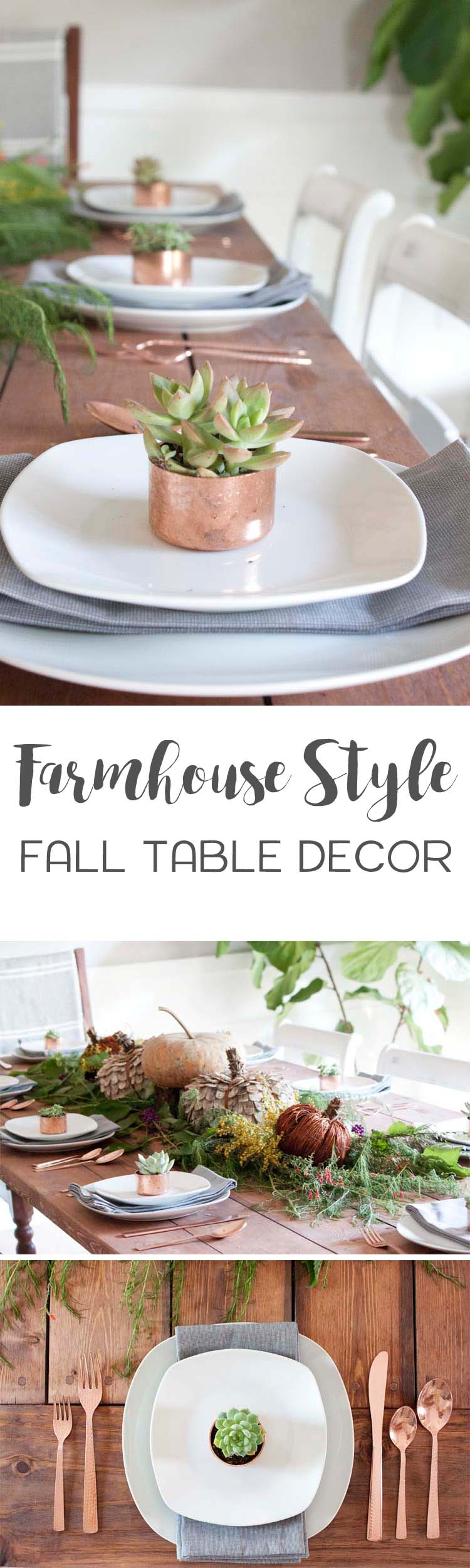 Rustic and natural touches mixed with warm copper accents make this farmhouse style table setting ideal for fall.