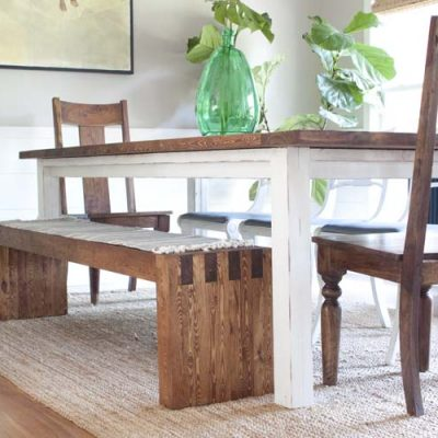 DIY Modern Farmhouse Bench | West Elm Inspired