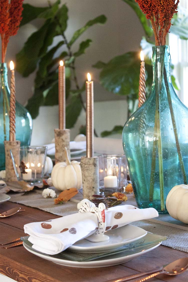 DIY Metallic Print Holiday Napkins