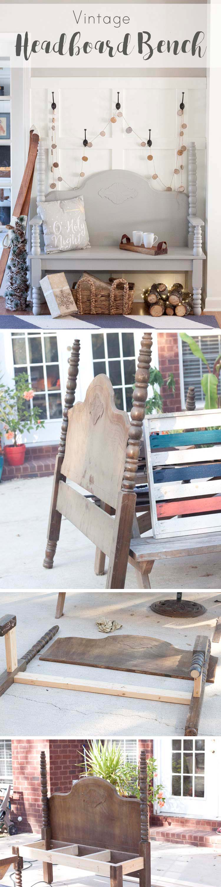 DIY Vintage Headboard Bench