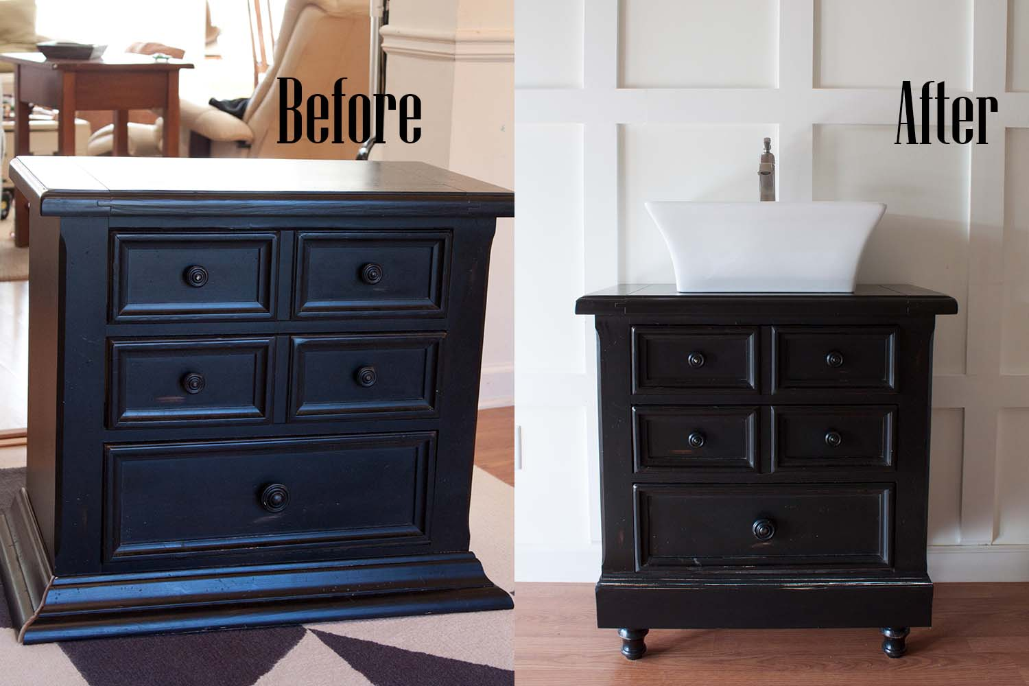 How to Turn an Old Nightstand Into a Bathroom Vanity